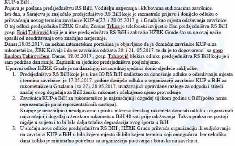 UO HŽRK Grude: 'Spremni smo preuzeti organizaciju i učestvovanje na završnom turniru Kupa BiH'