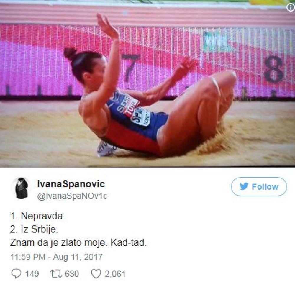spanovic.jpg - Ivana Španović se oglasila nakon neviđenog skandala na SP: Nepravda!