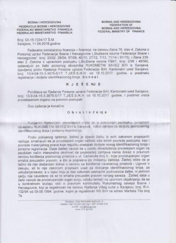 osl.jpg - Rukometni savez BiH ipak će dobiti novi ID broj u Federaciji BiH?!