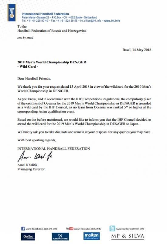 odgovor-IHF.jpg - Iz RS BiH upućen zahtjev za pozivnicu za SP: Stigao odgovor IHF-a