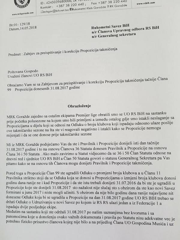 Gorazde.jpg - RK Goražde najavio žalbu EHF-u