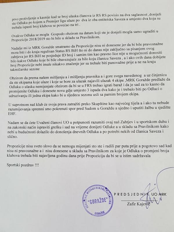 Gorazde1.jpg - RK Goražde najavio žalbu EHF-u