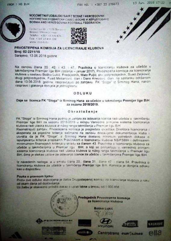 aa.jpg - Sloga Simin Han dobila licencu za takmičenje u Premijer ligi BiH