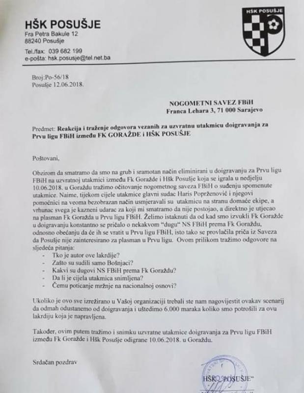 dopis_posusje.jpg - (FOTO) Neobičan dopis u NS FBiH: Lakrdija u Goraždu nas je koštala 6.000 KM