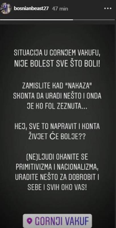 bsn.jpg - (FOTO) Jusuf Nurkić oštro reagovao na četničke napise u Gornjem Vakufu