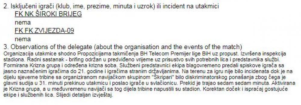 škr.jpg - Šta je napisao delegat nakon skandaloznih dešavanja na Pecari?